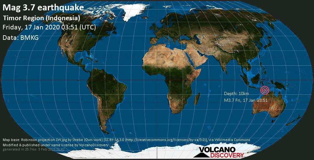 Light mag. 3.7 earthquake - 72 km east of Kupang, Nusa Tenggara Timur, Indonesia, on Friday, 17 January 2020 at 03:51 (GMT)