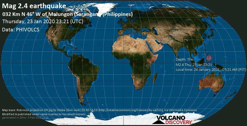 Debile terremoto magnitudine 2.4 - 032 km N 46° W of Malungon (Sarangani) (Philippines), giovedì, 23 gennaio 2020