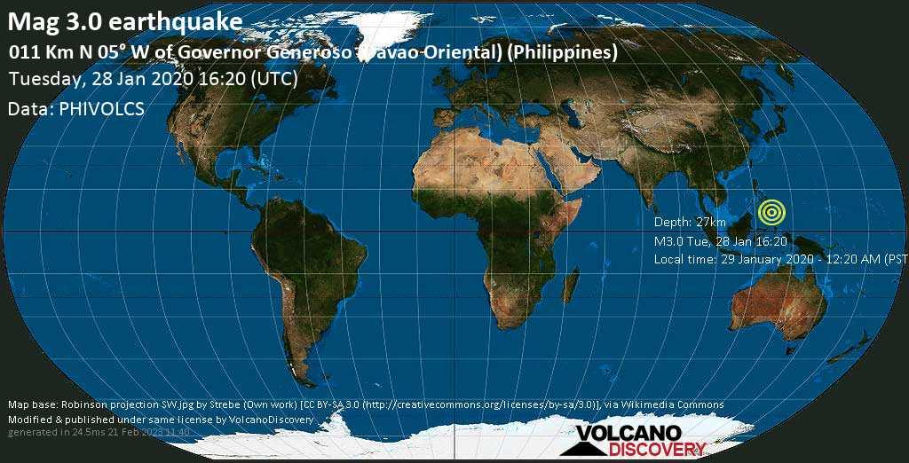 Schwaches Erdbeben der Stärke 3.0 - 011 km N 05° W of Governor Generoso (Davao Oriental) (Philippines), am Dienstag, 28. Jan 2020 um 16:20 GMT