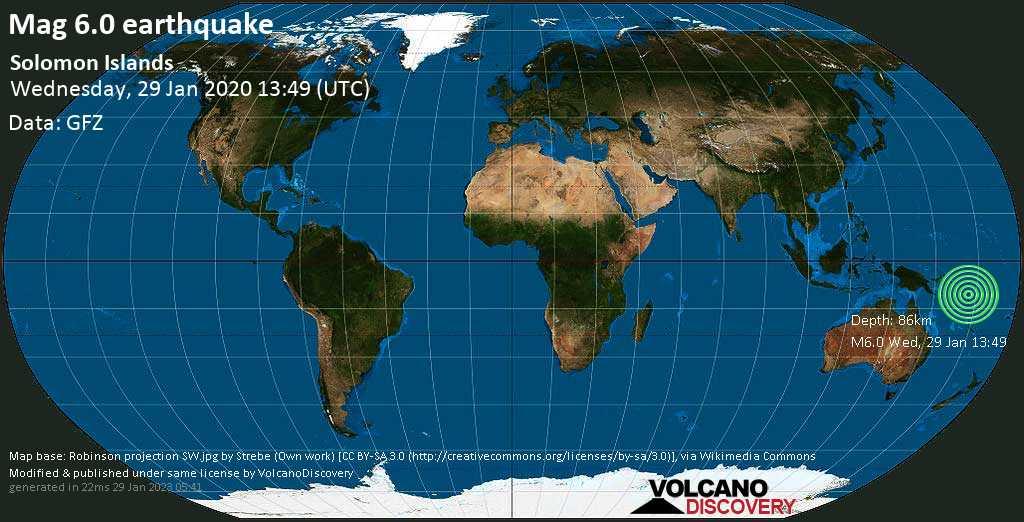 Strong mag. 6.0 earthquake  - Solomon Islands on Wednesday, 29 January 2020