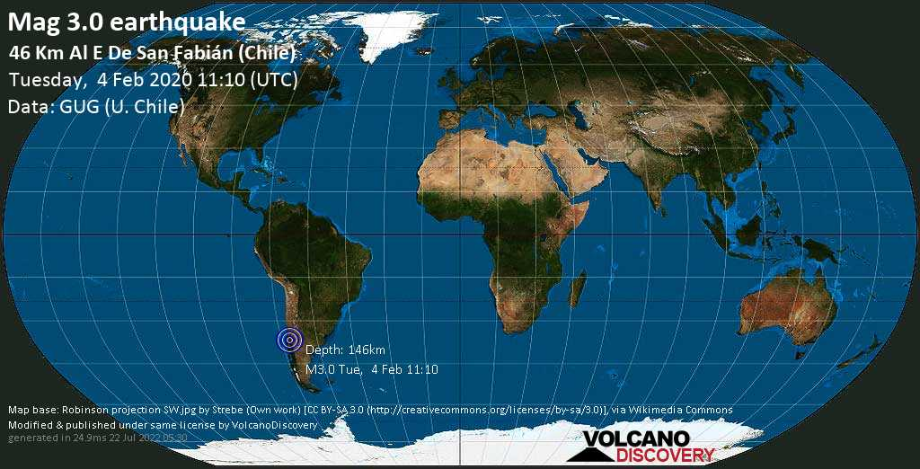 Minor mag. 3.0 earthquake - Punilla, Ñuble, 84 km southeast of Linares, Maule Region, Chile, on Tuesday, 4 February 2020 at 11:10 (GMT)
