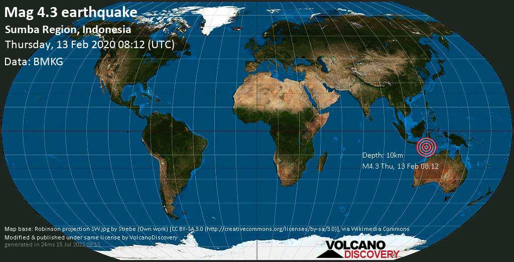Mag. 4.3 earthquake  - 129 km southwest of Waingapu, Kabupaten Sumba Timur, Nusa Tenggara Timur, Indonesia, on Thursday, 13 February 2020 at 08:12 (GMT)