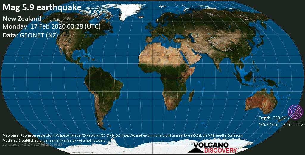 Moderate mag. 5.9 earthquake - South Pacific Ocean, 222 km north of East Island, Gisborne, New Zealand, on Monday, 17 February 2020 at 00:28 (GMT)