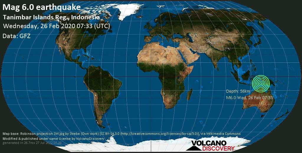 Strong mag. 6.0 earthquake - 282 km southwest of Tual, Maluku, Indonesia, on Wednesday, 26 February 2020 at 07:33 (GMT)