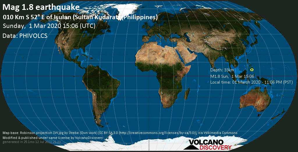 Minor mag. 1.8 earthquake  - 010 km S 52° E of Isulan (Sultan Kudarat) (Philippines) on Sunday, 1 March 2020