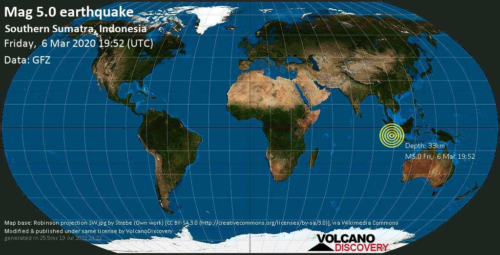 Moderate mag. 5.0 earthquake - Indian Ocean, 162 km south of Bengkulu, Indonesia, on Friday, 6 March 2020 at 19:52 (GMT)