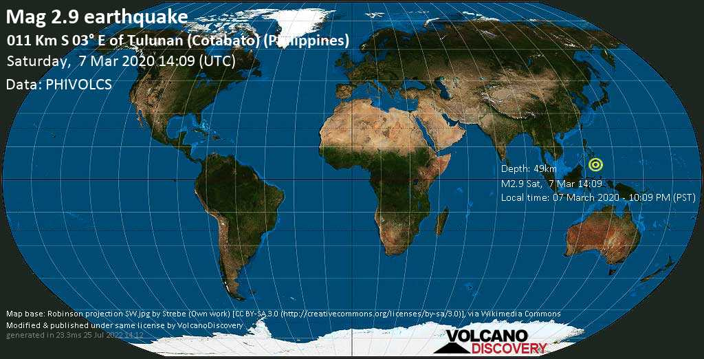 Minor mag. 2.9 earthquake  - 011 km S 03° E of Tulunan (Cotabato) (Philippines) on Saturday, 7 March 2020