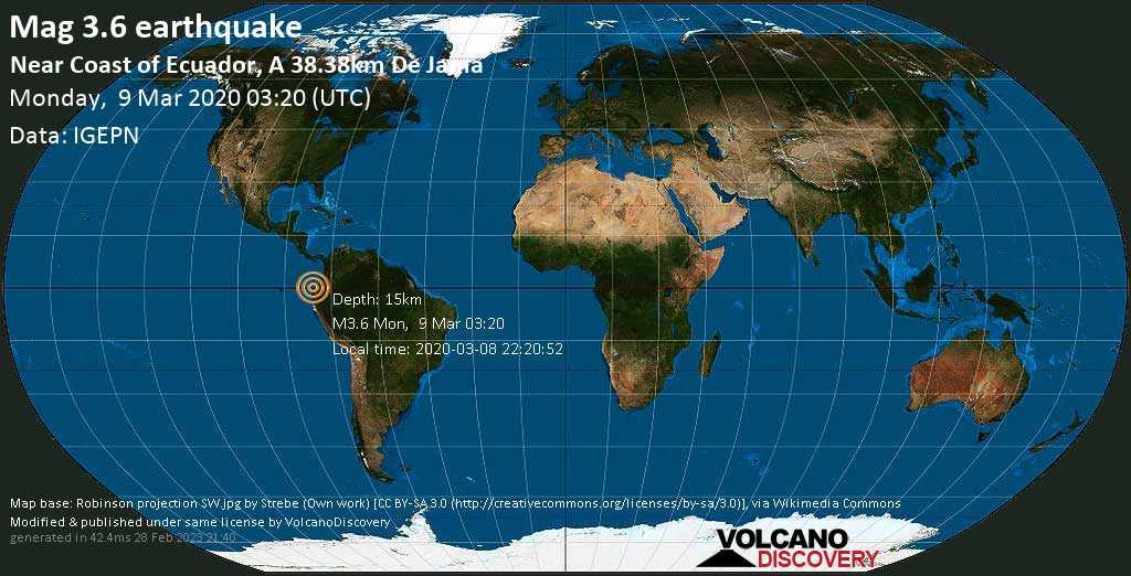Sismo leggero mag. 3.6 - North Pacific Ocean, 45 km a ovest da Pedernales, Provincia de Manabi, Ecuador, lunedí, 09 marzo 2020