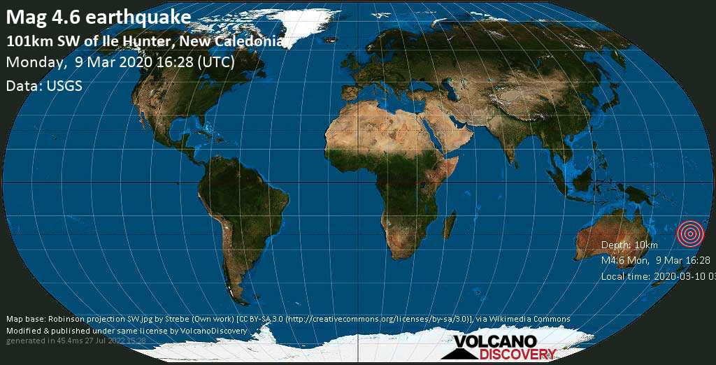 Light mag. 4.6 earthquake  - 101km SW of Ile Hunter, New Caledonia on Monday, 9 March 2020