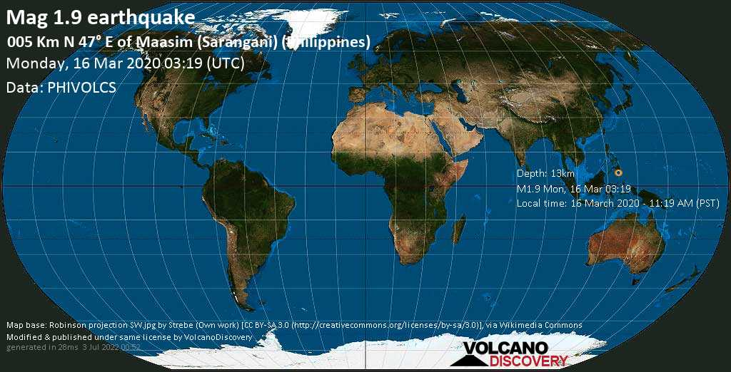 Débil terremoto magnitud 1.9 - 005 km N 47° E of Maasim (Sarangani) (Philippines), lunes, 16 mar. 2020