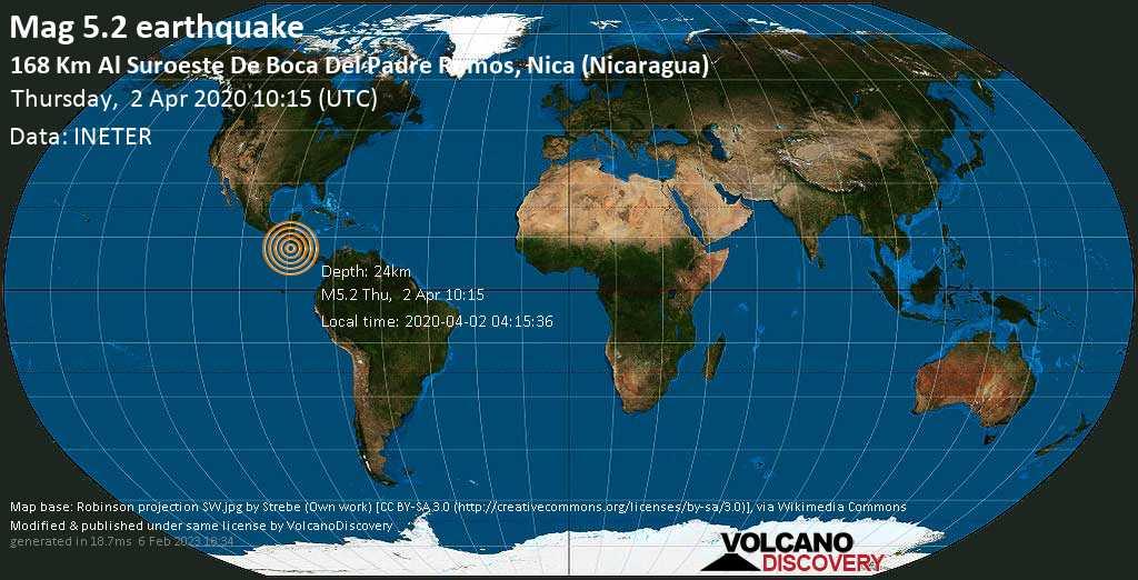 Moderate mag. 5.2 earthquake  - North Pacific Ocean, 186 km southwest of Chinandega, Departamento de Chinandega, Nicaragua, on 2020-04-02 04:15:36