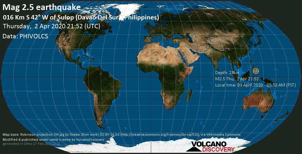 Debile terremoto magnitudine 2.5 - 016 km S 42° W of Sulop (Davao Del Sur) (Philippines), giovedì, 02 aprile 2020