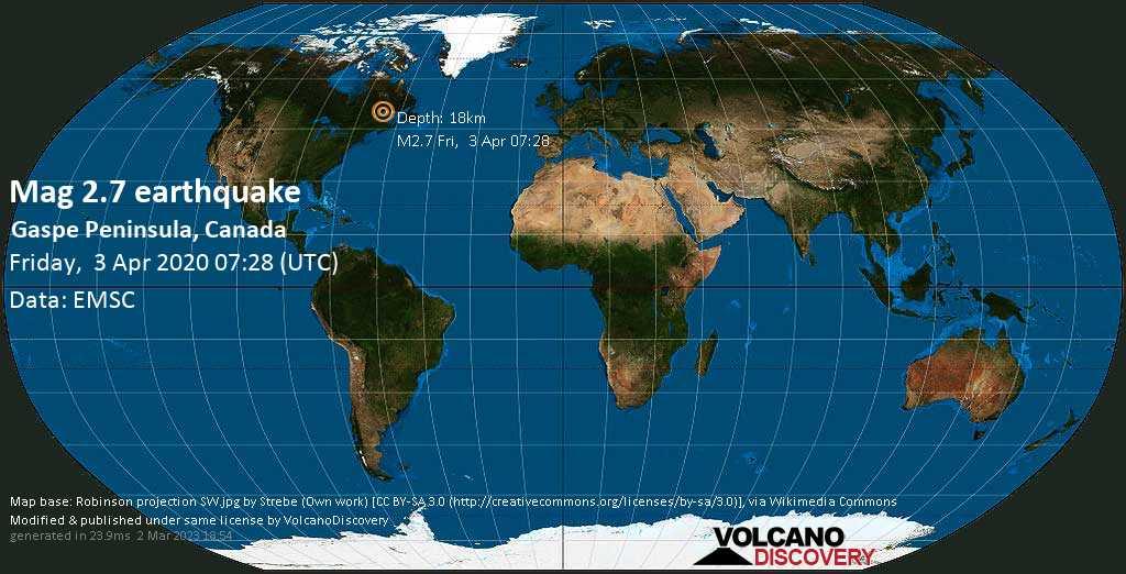 Schwaches Erdbeben Stärke 2.7 - 60 km südöstlich von Sept-Îles, Côte-Nord, Quebec, Kanada, am Freitag,  3. Apr 2020 um 07:28 GMT