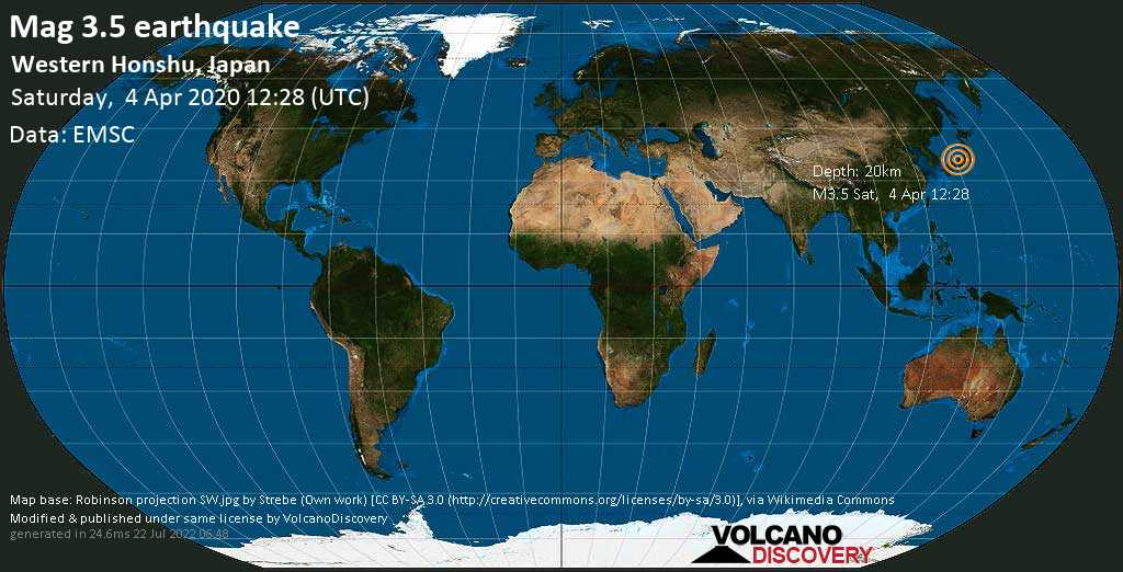 Light mag. 3.5 earthquake - Japan Sea, 30 km north of Miyazu, Kyoto, Japan, on Saturday, 4 Apr 2020 12:28 pm (GMT +0)