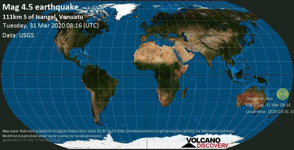 Leggero terremoto magnitudine 4.5 - Vanuatu, 353 km northeast da Noumea (South Province, Nuova Caledonia), martedì, 31 marzo 2020