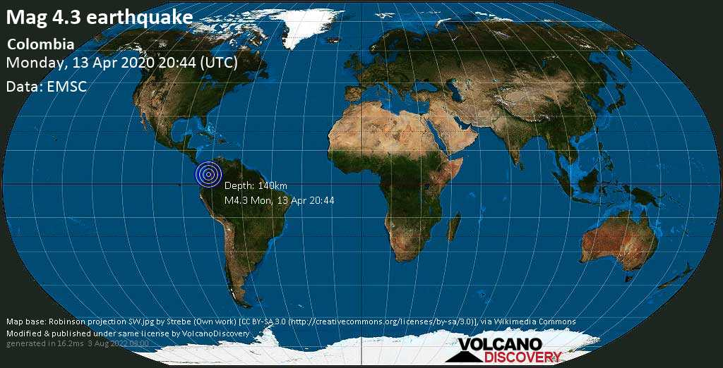 Mag. 4.3 earthquake  - 12 km northwest of Tuluá, Valle del Cauca, Colombia, on Monday, 13 April 2020 at 20:44 (GMT)