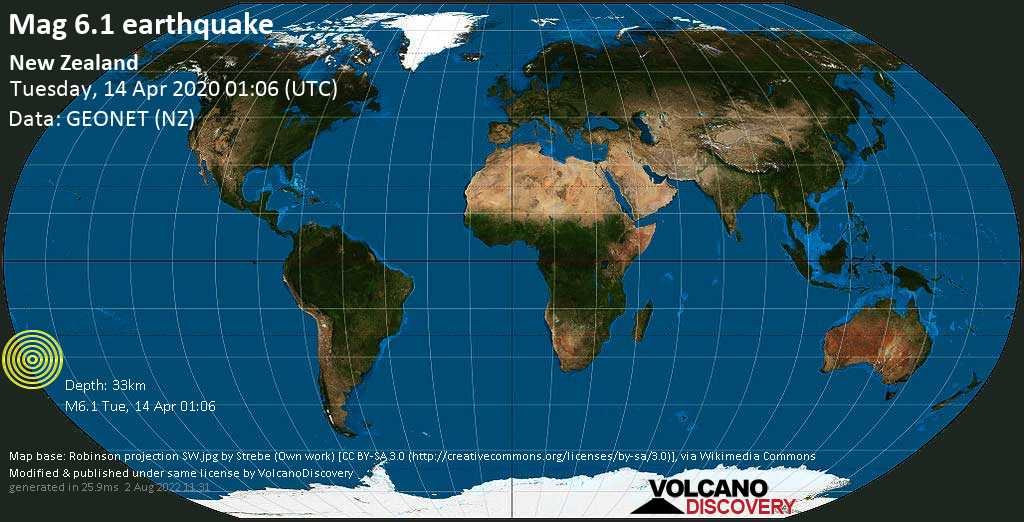Strong mag. 6.1 earthquake  - South Pacific Ocean, New Zealand, on Tuesday, 14 April 2020 at 01:06 (GMT)