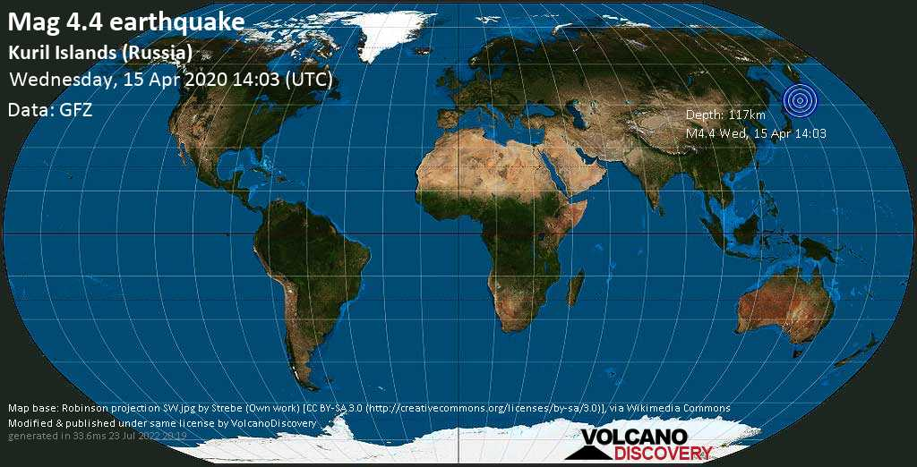 Light mag. 4.4 earthquake  - 244 km northeast of Kuril'sk, Sakhalin Oblast, Russia, on Wednesday, 15 April 2020 at 14:03 (GMT)