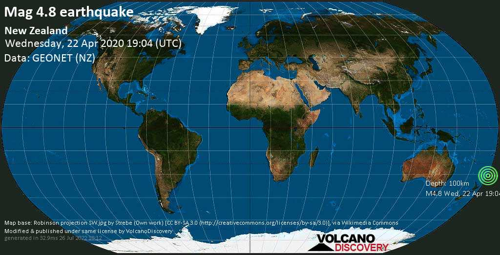 Mag. 4.8 earthquake  - South Pacific Ocean on Wednesday, 22 April 2020 at 19:04 (GMT)