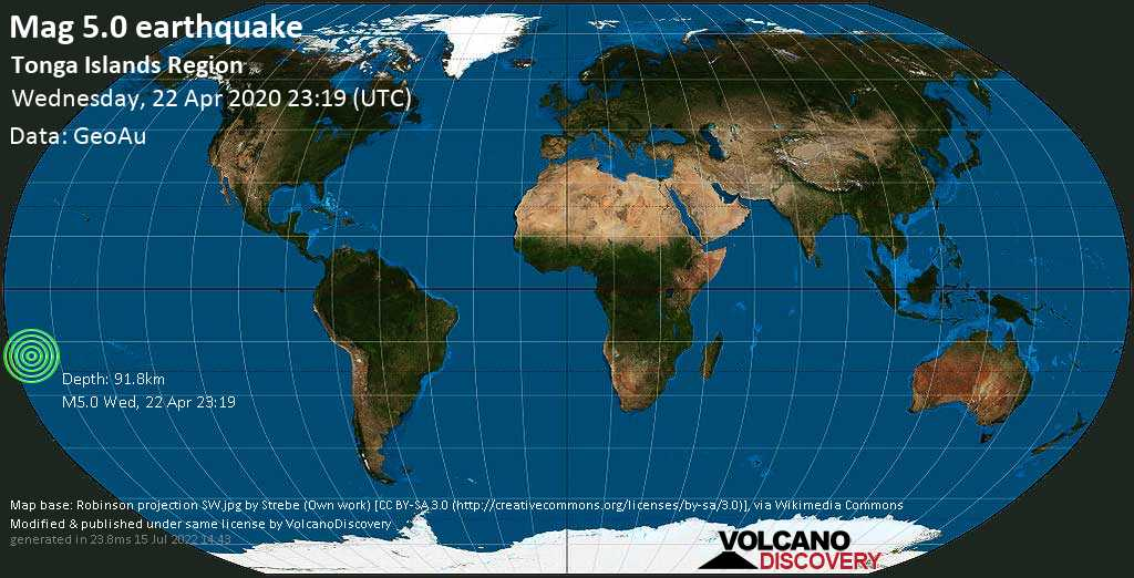 Moderate mag. 5.0 earthquake  - South Pacific Ocean, 142 km east of Neiafu, Vava'u, Tonga, on Wednesday, 22 April 2020 at 23:19 (GMT)
