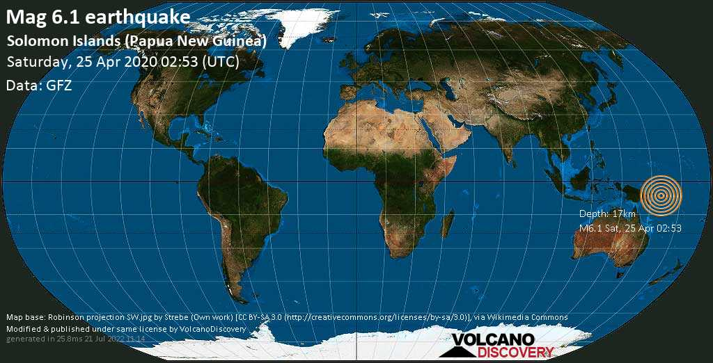 Very strong mag. 6.1 earthquake - Solomon Sea, 146 km west of Arawa, Bougainville, Papua New Guinea, on Saturday, 25 April 2020 at 02:53 (GMT)