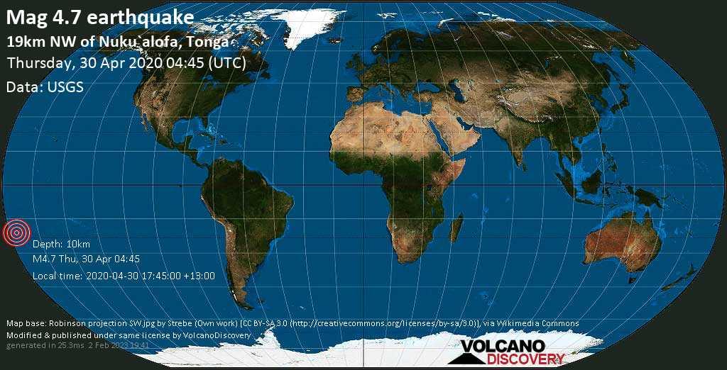 Terremoto moderato mag. 4.7 - South Pacific Ocean, 20 km a nord ovest da Nuku\'alofa, Tongatapu, giovedí, 30 aprile 2020