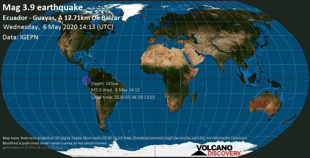 Weak mag. 3.9 earthquake - 105 km north of Guayaquil, Guayas, Ecuador, on 2020-05-06 09:13:03
