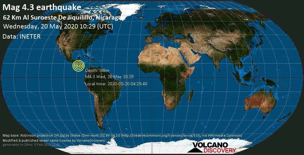 Mag. 4.3 earthquake  - 164 km west of Managua, Nicaragua, on 2020-05-20 04:29:40