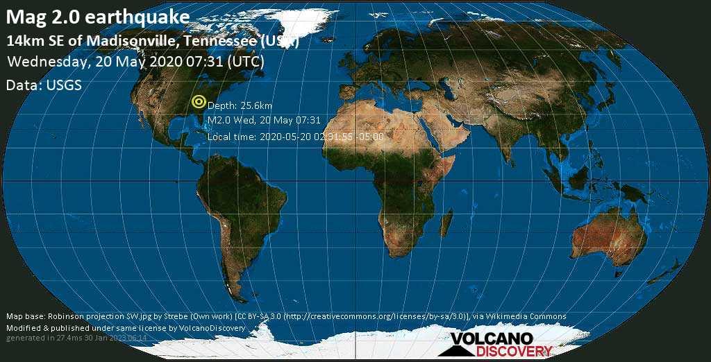 Minor mag. 2.0 earthquake - 9 mi southeast of Madisonville, Monroe County, Tennessee, USA, on 2020-05-20 02:31:55 -05:00