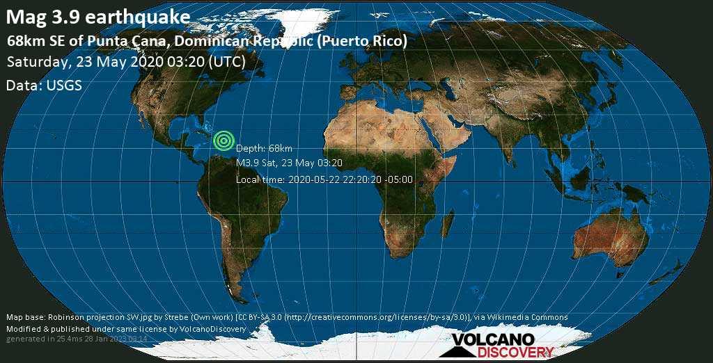Weak mag. 3.9 earthquake - 197 km east of Santo Domingo, Distrito Nacional, Dominican Republic, Puerto Rico, on 2020-05-22 22:20:20 -05:00