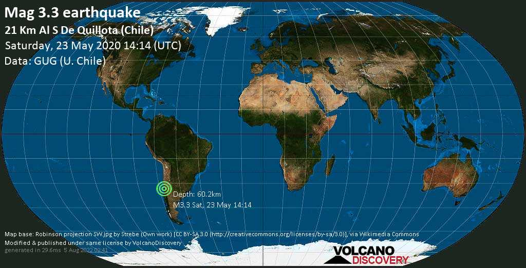Weak mag. 3.3 earthquake - 7.7 km southeast of Limache, Provincia de Marga Marga, Valparaiso, Chile, on Saturday, 23 May 2020 at 14:14 (GMT)