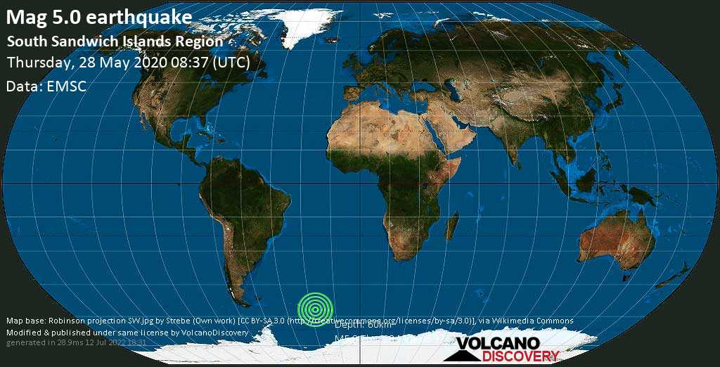 Moderate mag. 5.0 earthquake - South Atlantic Ocean, South Georgia & South Sandwich Islands, on Thursday, 28 May 2020 at 08:37 (GMT)