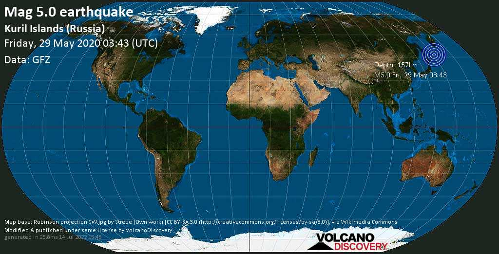 Moderado terremoto magnitud 5.0 - Sea of Okhotsk, 24 km WNW of Ostrov Petushkova Island, Sakhalin Oblast, Russia, viernes, 29 may. 2020