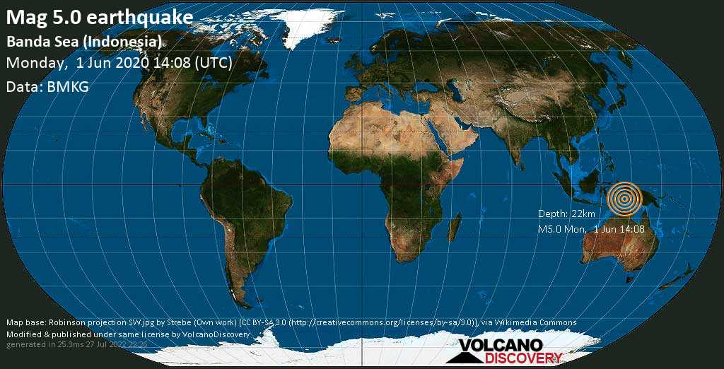 Moderate mag. 5.0 earthquake  - 425 km southeast of Ambon City, Maluku, Indonesia, on Monday, 1 June 2020 at 14:08 (GMT)