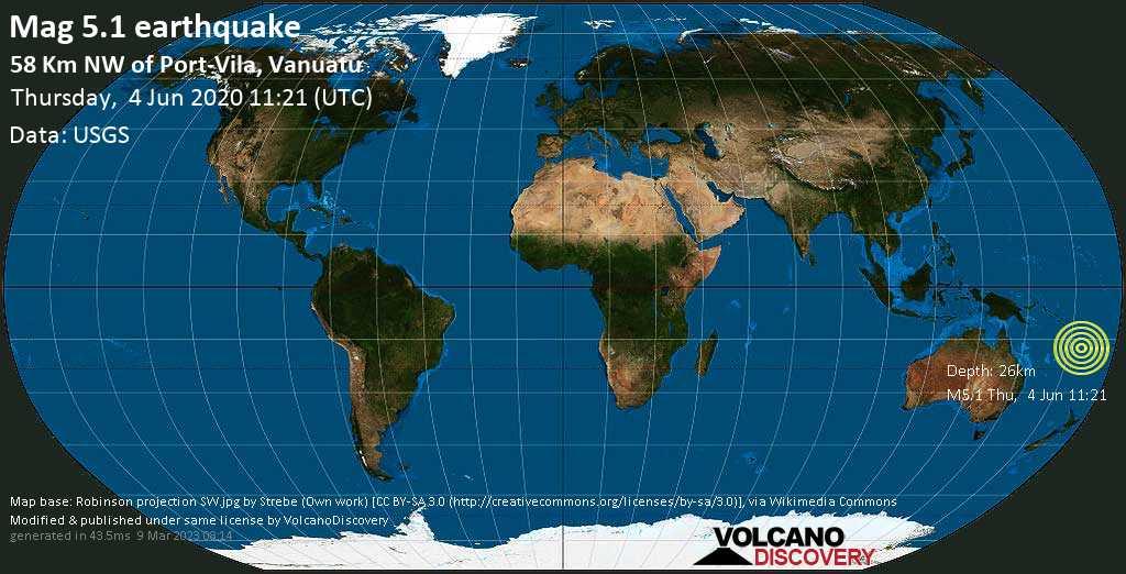 Moderate mag. 5.1 earthquake - Coral Sea, 59 km northwest of Port Vila, Shefa Province, Vanuatu, on Thursday, 4 June 2020 at 11:21 (GMT)