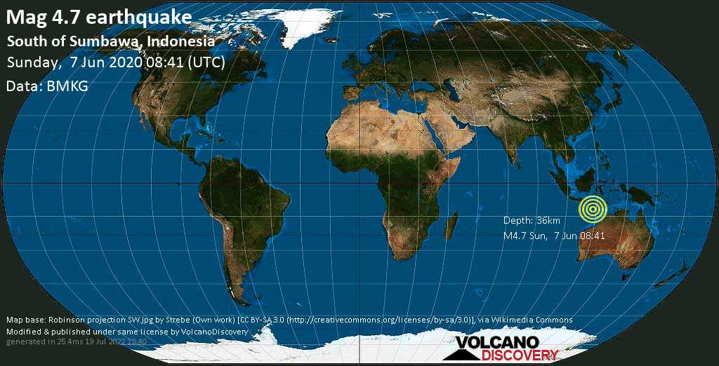 Moderate mag. 4.7 earthquake - 409 km southeast of Denpasar, Bali, Indonesia, on Sunday, 7 June 2020 at 08:41 (GMT)