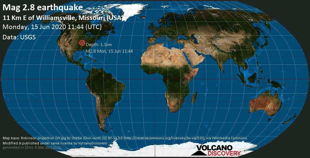 Light mag. 2.8 earthquake - Wayne County, 14 mi north of Poplar Bluff, Butler County, Missouri, USA, on Monday, 15 June 2020 at 11:44 (GMT)