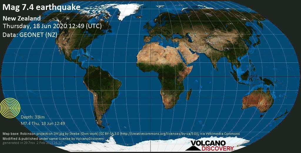 Schweres Erdbeben der Stärke 7.4 - New Zealand am Donnerstag, 18. Jun. 2020