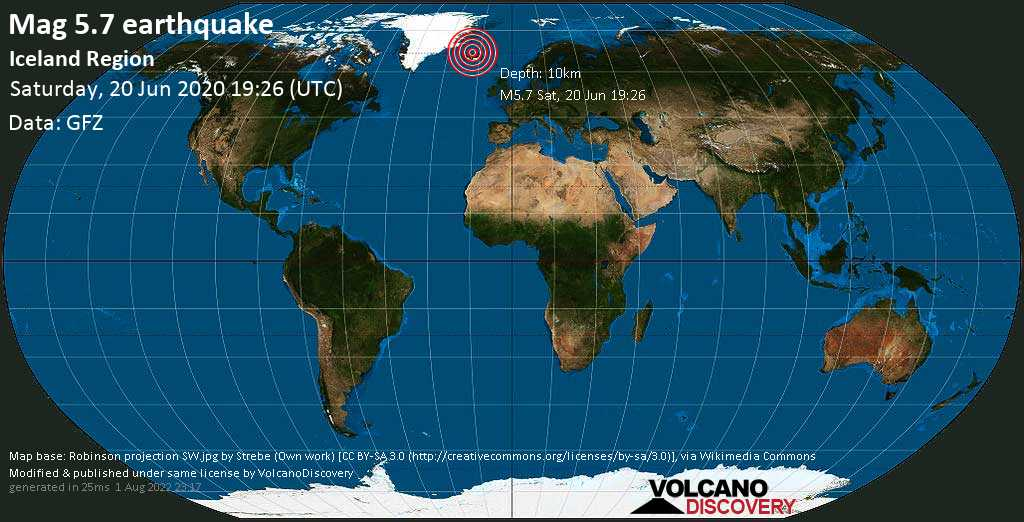 Strong mag. 5.7 earthquake - Iceland Sea, 31 km northeast of Siglufjordur, Fjallabyggð, Northeast, Iceland, on Saturday, 20 June 2020 at 19:26 (GMT)