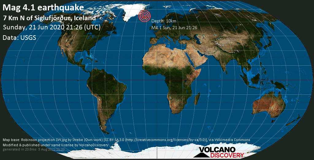 Moderate mag. 4.1 earthquake - 7.9 km north of Siglufjörður, Fjallabyggð, Northeast, Iceland, on Sunday, 21 June 2020 at 21:26 (GMT)