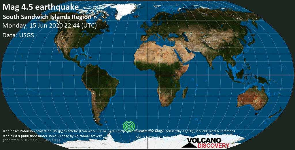 Light mag. 4.5 earthquake - South Atlantic Ocean, South Georgia & South Sandwich Islands, on Monday, 15 June 2020 at 22:44 (GMT)