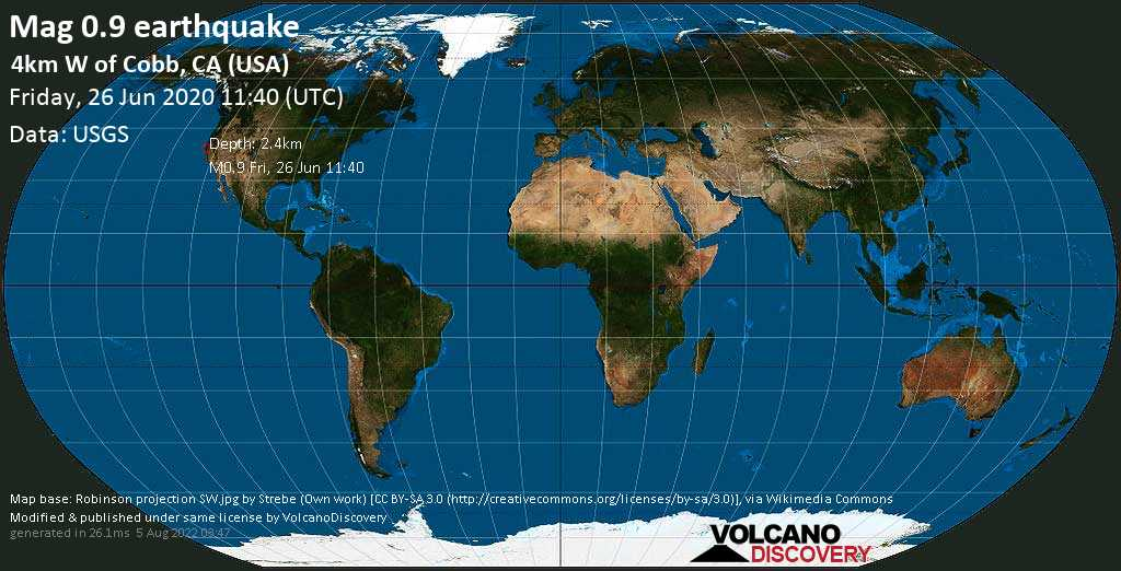 Mag. 0.9 earthquake  - 4km W of Cobb, CA (USA), on Friday, 26 June 2020 at 11:40 (GMT)