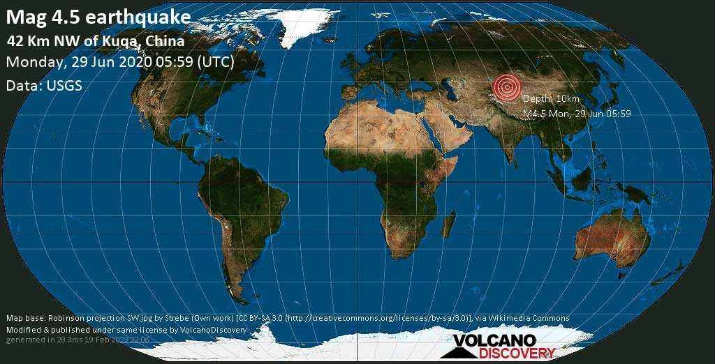 Moderate mag. 4.5 earthquake - 42 km northwest of Kuqa, Akesu Diqu, Xinjiang Weiwuerzizhiqu, China, on Monday, 29 June 2020 at 05:59 (GMT)