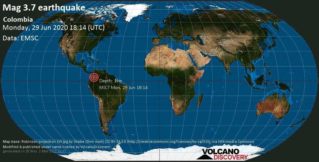Moderates Erdbeben der Stärke 3.7 - Mesetas, 24 km südwestlich von Lejanias, Departamento del Meta, Kolumbien, am Montag, 29. Jun 2020 um 18:14 GMT