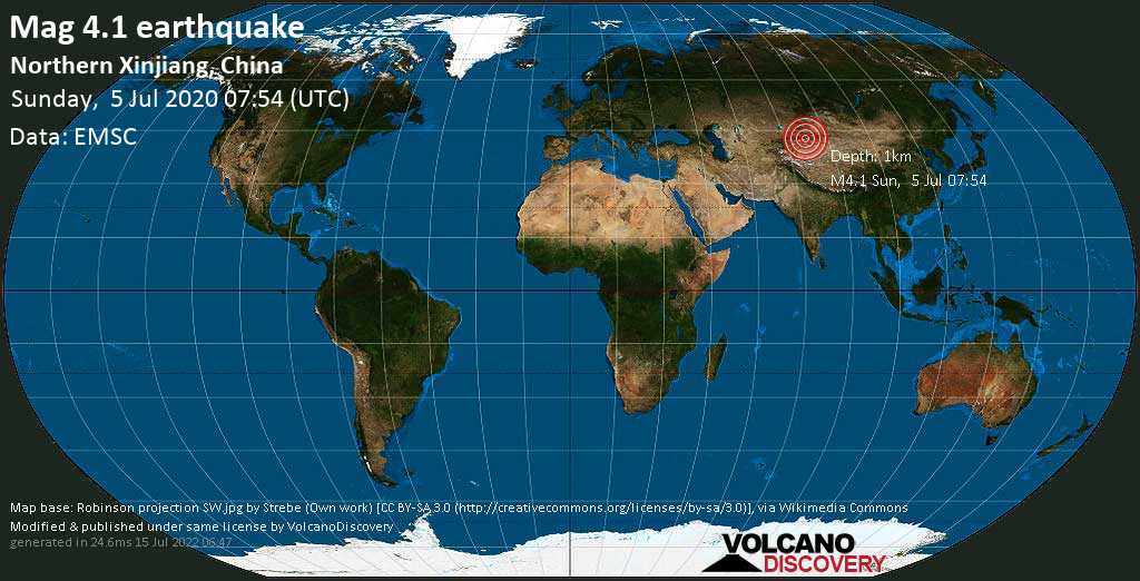 Moderate mag. 4.1 earthquake - 171 km southwest of Xinyuan, Yili Hasakezizhizhou, Xinjiang Weiwuerzizhiqu, China, on Sunday, 5 July 2020 at 07:54 (GMT)