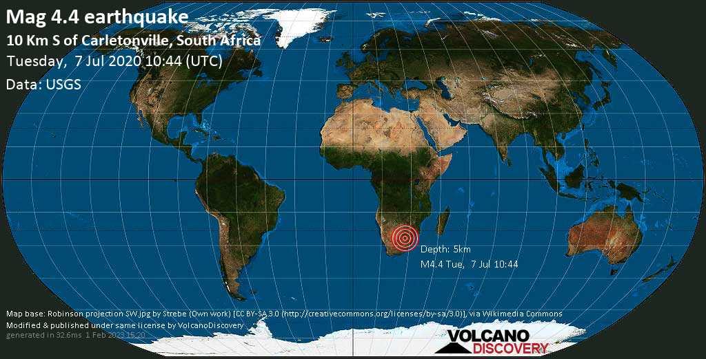 Leggero terremoto magnitudine 4.4 - 10.4 km a sud da Carletonville, West Rand District Municipality, Gauteng, Sudafrica, martedì, 07 luglio 2020