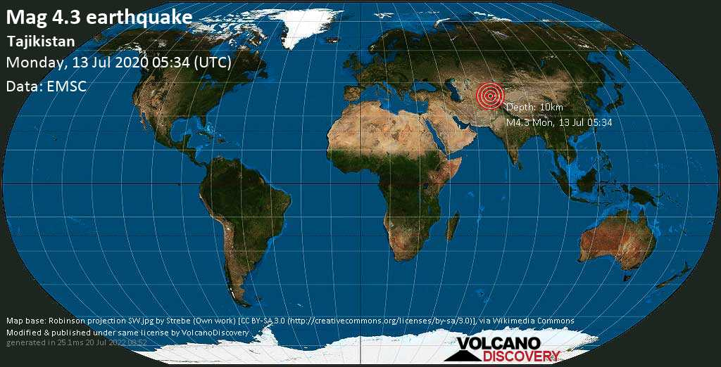Moderate mag. 4.3 earthquake - 8.7 km southeast of Obigarm, Roghun, Nohijahoi tobei çumhurī, Tajikistan, on Monday, 13 July 2020 at 05:34 (GMT)