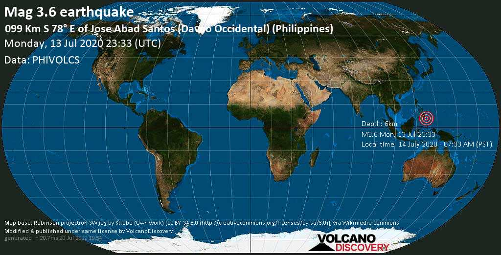 Minor mag. 3.6 earthquake  - 099 km S 78° E of Jose Abad Santos (Davao Occidental) (Philippines) on Monday, 13 July 2020