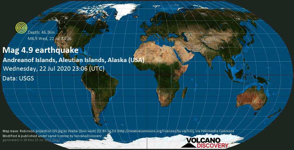 Light mag. 4.9 earthquake  - Andreanof Islands, Aleutian Islands, Alaska (USA), on Wednesday, 22 July 2020 at 23:06 (GMT)