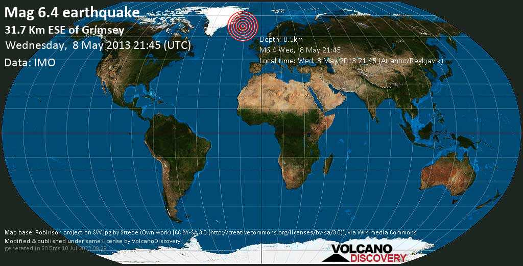 Major magnitude 6.4 earthquake - 31.7 Km ESE of Grímsey on Wed, 8 May 2013 21:45 (Atlantic/Reykjavik)